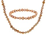 Champagne Cultured Freshwater Pearl Necklace, And Bracelet Set 7-8mm