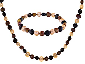Multi-Color Cultured Freshwater Pearl Necklace, And Bracelet Set 7-8mm