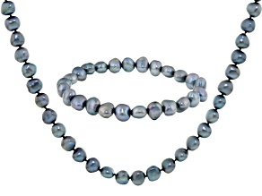Teal Cultured Freshwater Pearl Necklace And Bracelet Set 7-8mm