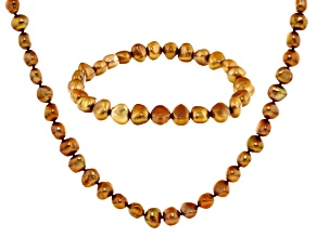 Golden Cultured Freshwater Pearl Necklace, Bracelet Set 7-8mm