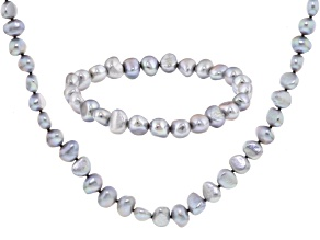 Silver Cultured Freshwater Pearl Necklace And Bracelet Set 7-8mm