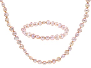 Pink Cultured Freshwater Pearl Necklace And Bracelet Set 7-8mm