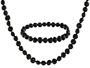Black Cultured Freshwater Pearl Necklace And Bracelet Set 7-8mm