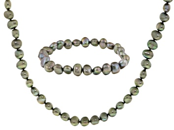 Picture of Pistachio Green Cultured Freshwater Pearl Necklace And Bracelet Set 7-8mm