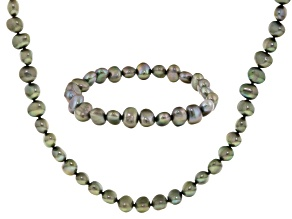 Pistachio Green Cultured Freshwater Pearl Necklace And Bracelet Set 7-8mm
