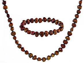 Brown Cultured Freshwater Pearl Necklace And Bracelet Set 7-8mm