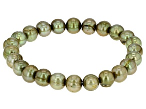 Olive Green Cultured Freshwater Pearl Stretch Bracelet 8-9mm