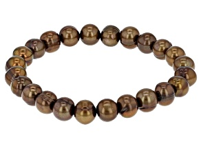 Brown Cultured Freshwater Pearl Stretch Bracelet 8-9mm