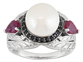 White Cultured Freshwater Pearl, Ruby, Black Spinel Sterling Silver Ring
