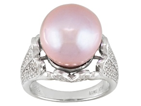 Lavender Cultured Freshwater Pearl, Topaz Rhodium Over Silver Ring