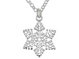 Sterling Silver Snow Flake Pendant With 18 Inch Cable Chain