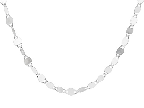 Sterling Silver Mirror Link Chain Necklace 20 Inch