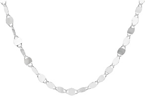 Sterling Silver Mirror Link Chain Necklace 24 Inch