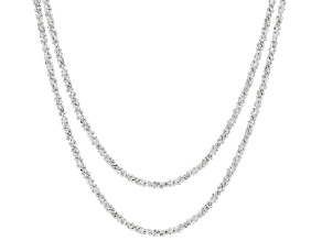 Sterling Silver Diamond Cut Criss Cross Chain Necklace Set 18 and 20 Inch