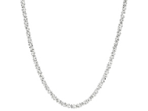 Sterling Silver Diamond Cut Criss Cross Chain Necklace 18 Inch
