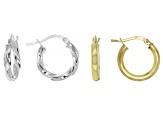 Sterling Silver & 18K Yellow Gold Over Silver Hoop Earring Set Of 2