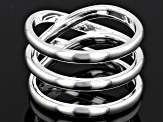 Sterling Silver Polished Three Row Criss Cross Band Ring