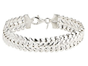 Sterling Silver Triple Row Heart Bracelet