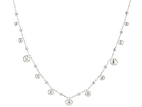 Sterling Silver Bead Station 18 Inch Necklace