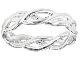Solid Sterling Silver Silver Tone Braided Band Ring. Made in Italy.