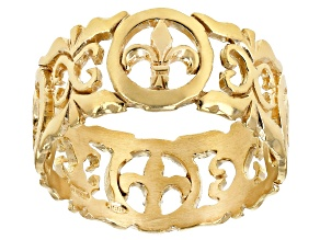 Fleur De Lis Yellow Gold over Sterling Silver Florentine Lily Ring