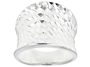 Sterling Silver Concave Faceted Diamond Cut Ring.