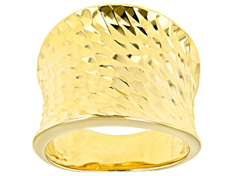18K Yellow Gold over Sterling Silver Concave Faceted Diamond Cut Ring.