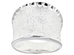 Concave Satin Diamond Cut Ring.
