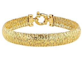 18K Yellow Gold Over Sterling Silver Wire Wrapped Omega Bracelet