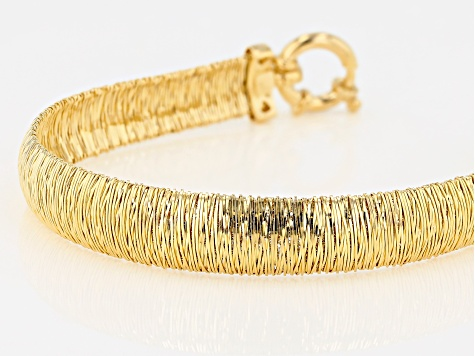 18K Yellow Gold Over Sterling Silver Spiral Wire Bracelet.