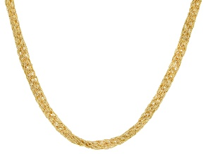 18K Yellow Gold over Sterling Silver Multi-Strand Braided Mesh Necklace