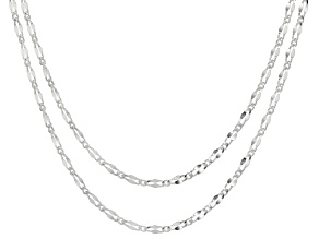 Diamond Cut Figaro Set of Two Chain Necklaces 18