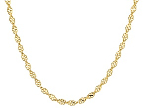 18K Yellow Gold Over Sterling Silver Twisted Infinity Necklace 20