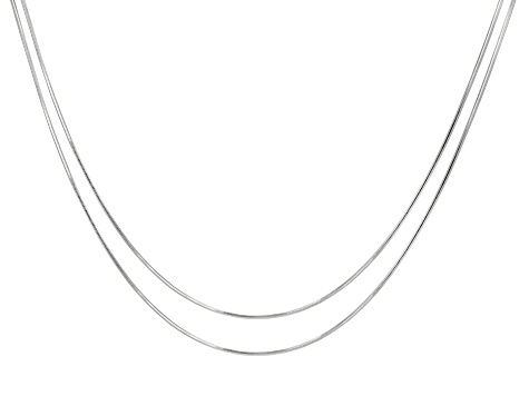Sterling Silver Snake 0.95mm 8 Sided Set of Two Necklaces 18""