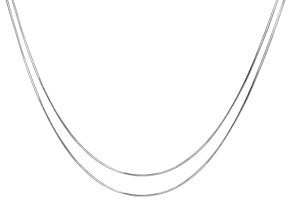 """Sterling Silver Snake 0.95mm 8 Sided Set of Two Necklaces 18"""""""
