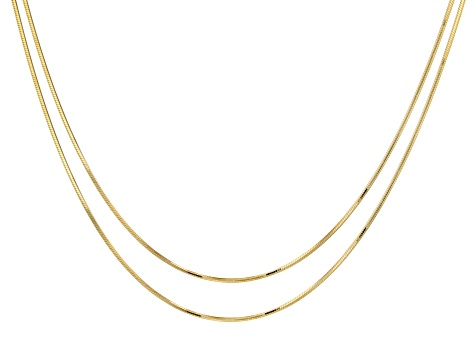 18K Yellow Gold Over Sterling Silver Snake 0.95mm 8 Sided Set of Two Necklaces 18