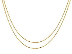 """18K Yellow Gold Over Sterling Silver Snake 0.95mm 8 Sided Set of Two Necklaces 18"""""""