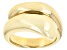 18k Yellow Gold Over Sterling Silver Polished Cross Over Band Ring.