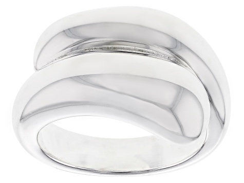 Sterling Silver Polished Cross Over Band Ring.