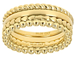18K Yellow Gold Over Silver Set of 4 Stackable Mixed Rings.