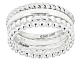 Sterling Silver Set of 4 Stackable Mixed Rings