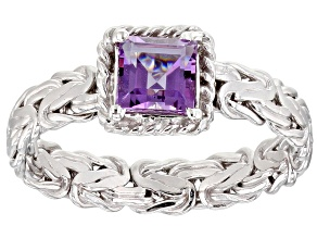 0.50ct Square Amethyst Rhodium over Sterling Silver Byzantine with Rope Accent Ring