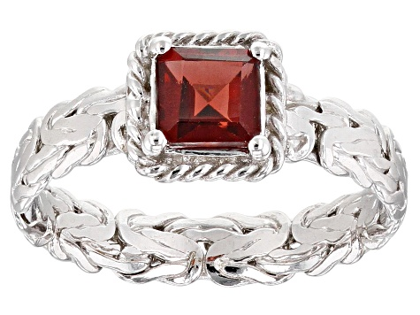 0.75ct Square Garnet Rhodium over Sterling Silver Byzantine with Rope Accent Ring