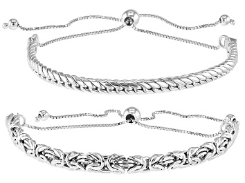 Picture of Sterling Silver Byzantine and Cuban Link Adjustable Set of 2 10 Inch Bracelets