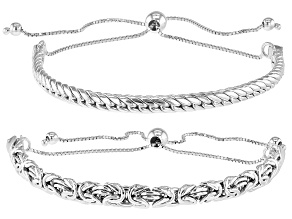 Sterling Silver Byzantine and Cuban Link Adjustable Set of 2 10 Inch Bracelets