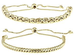 18K Yellow Gold Over Sterling Silver Byzantine and Cuban Link Adjustable Set of 2 10 Inch Bracelets