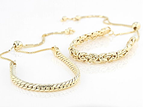 18K Yellow Gold Over Sterling Silver Byzantine and Cuban Link Adjustable Set of 2 Bracelet 4