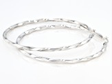 Rhodium over sterling silver twisted round hoop earrings.