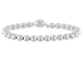 Sterling Silver 6mm Polished Bead Strand Bracelet With Magnetic Clasp.