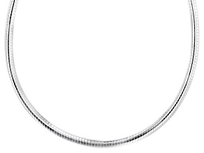 Sterling Silver 6mm Polished Omega 18 Inch Necklace